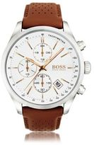 HUGO BOSS 1513475 Chronograph Tachymeter Leather Strap Watch One Size Assorted-Pre-Pack