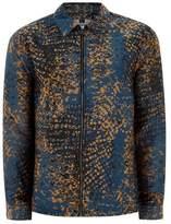 Topman Teal And Orange Leopard Print Overshirt