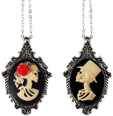 Couture By Lolita Skeleton Bride & Groom Cameo Necklace Set