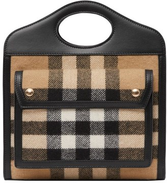 Burberry Mini Check Cashmere And Leather Pocket Bag