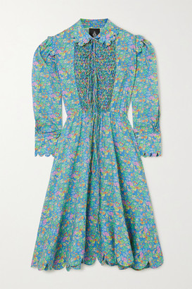 Horror Vacui Electra Lace-up Scalloped Floral-print Cotton-poplin Midi Dress - Green