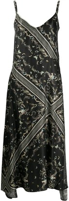 AllSaints Printed Silk-Blend Midi Dress