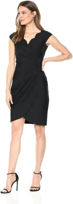 Alex Evenings Women's Slimming Short Sheath Dress with Cap Sleeves
