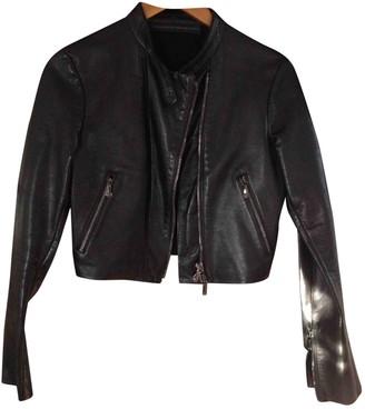 Ermanno Scervino Black Leather Coat for Women