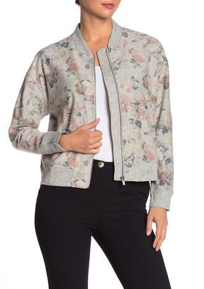 Catherine Malandrino Floral Zip Front Bomber Jacket