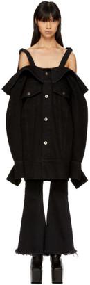 Matthew Adams Dolan SSENSE Exclusive Black Denim Falling Off-the-Shoulder Jacket