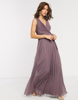 Asos Design DESIGN wrap bodice maxi dress with tie waist and pleat skirt-Purple