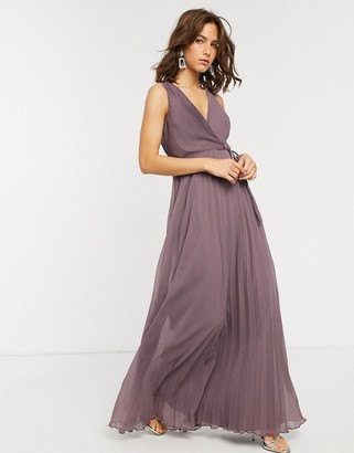 Asos DESIGN wrap bodice maxi dress with tie waist and pleat skirt