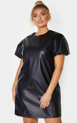 PrettyLittleThing Plus Black PU Puff Sleeve Shift Dress