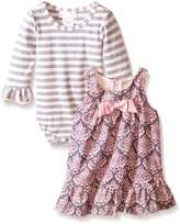 Bonnie Baby Baby-Girls Infant Toile Printed Corduroy Jumper with Stripe Tee