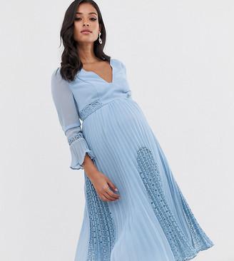 ASOS DESIGN Maternity plunge neck lace insert pleated midi dress