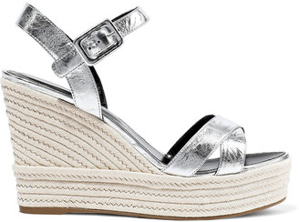 Sergio Rossi Cracked-leather Espadrille Wedge Sandals