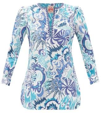 Le Sirenuse Le Sirenuse, Positano - Kate Psycho-print Cotton Tunic Top - Womens - Blue Print