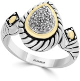Effy Sterling Silver & 18K Yellow Gold Pave Teardrop Diamond Ring - Size 7 - 0.11 ctw