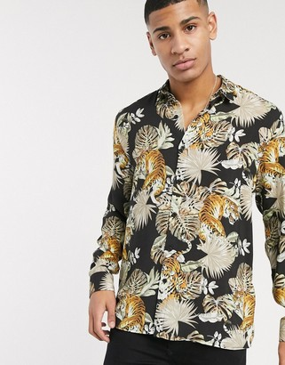 Topman long sleeve shirt with tiger print in black