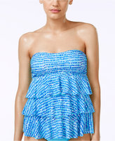 Island Escape Printed Strapless Ruffled Tankini Top