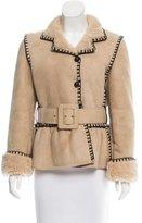 Saint Laurent Belted Shearling Coat