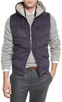 Brunello Cucinelli Suede Quilted Hooded Vest, Indigo