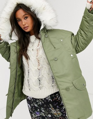 Asos DESIGN luxe parka with faux fur lining in sage