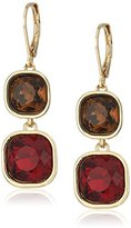 "Anne Klein Skyline Recolor"" Gold-Tone/Red Siam Double Drop Earrings"