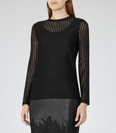 Reiss Mell Textured Long-Sleeved Top