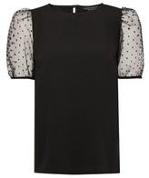 Dorothy Perkins Womens Black Organza Puff Sleeve Top, Black
