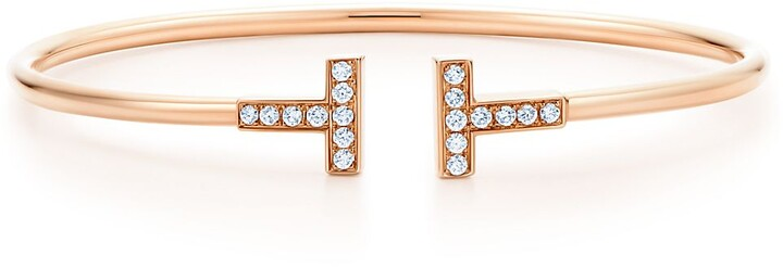 Tiffany & Co. T Wire Bracelet in Rose Gold with Diamonds