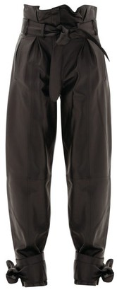 ATTICO Belted Leather Pleated Trousers - Black