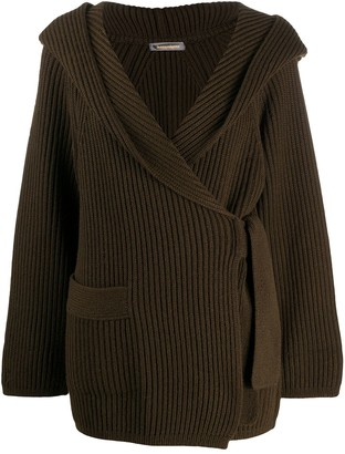 Issey Miyake Pre Owned 1980s Ribbed Hooded Cardigan