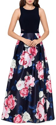 Xscape Evenings Floral Satin Ballgown