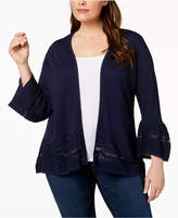 Charter Club Plus Size Ruffle-Sleeve Cardigan, Created for Macy's