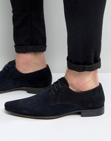 Asos Pointed Derby Shoes In Navy Suede