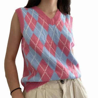 N/Aa Women Girl College Style Diamond Plaid Knitted Vest Casual V-Neck Sleeveless Pullover Top (Pink M)