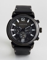 Police Concept Black Leather Watch