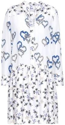 Sandro Lemon Floral-print Silk Crepe De Chine And Satin-twill Mini Dress