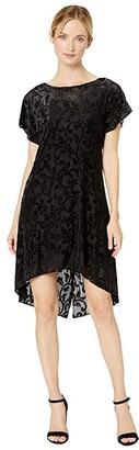 Adrianna Papell Lurex Velvet Knot Back Shift Dress (Black) Women's Dress