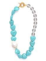 Timeless Pearly - Baroque Pearl & Howlite-heart Choker - Womens - Blue