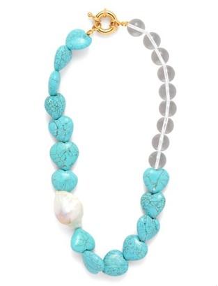 Timeless Pearly - Baroque Pearl & Howlite Heart Choker - Womens - Blue