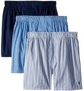 Polo Ralph Lauren Classic Fit 3 Packaged Woven Boxers (Rimini Stripe/Muller Plaid/Cruise Navy) Men's Underwear