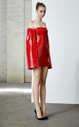 Alex Perry Maxen-Sequin Off Shoulder Cape Mini Dress