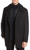 Andrew Marc Men's Cushing Wool Blend Peacoat With Detachable Bib