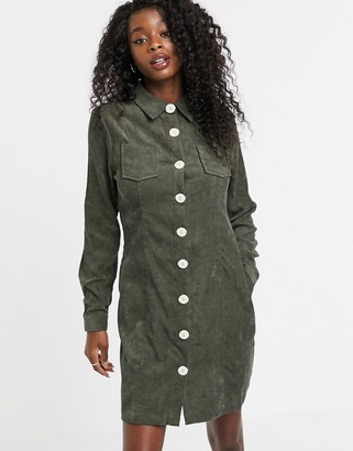 Qed London cord button front shirt dress in khaki