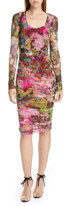 Fuzzi Floral Ruched Long Sleeve Dress