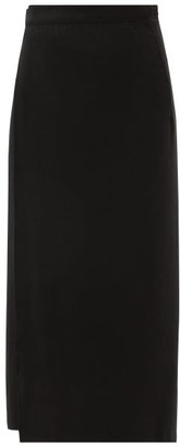 Haight Wraparound Twill Midi Skirt - Black