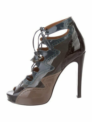 Hermes Lace-Up Brogue Booties Teal
