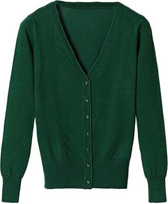 Shaoyao Womens V Neck Button Down Long Sleeve Basic Soft Knit Lightweight Cardigan Sweater Dark Green XL