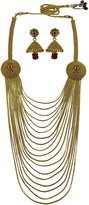 Matra Goldtone Ethnic South Indian Style 2 Pcs Necklace Earring Set Traditional Jewelry