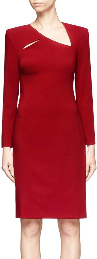 Alice + Olivia 'Scottie' cutout yoke crepe cady dress