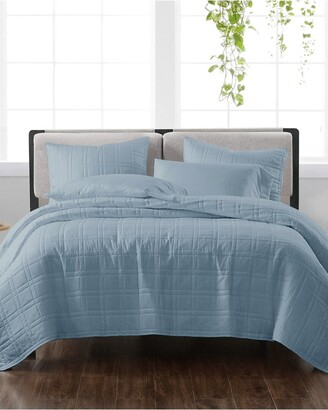 Cannon Solid Blue 3Pc Quilt Set