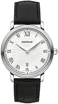 Montblanc 112633 Tradition Date Stainless Steel Alligator Leather Strap Watch, Black/white